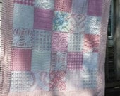 Pink quilt from vintage chenille bedspreads shabby decor cottage chic blue flower