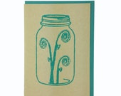 Fiddlehead in Mason Jar Blank Card Recycled Paper Compostable Plastic Environmentally Friendly