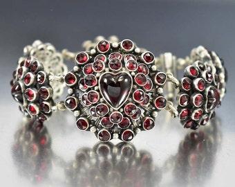 Antique Victorian Garnet Bracelet, Garnet Heart Bracelet, Silver Austro Hungarian Bracelet, Antique Jewelry, Bohemian Garnet Love Token