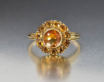 Antique Citrine Ring, Halo Engagement Ring, Gold Victorian Ring, Antique Engagement Cocktail Stacking Ring, November Birthstone Fine Jewelry
