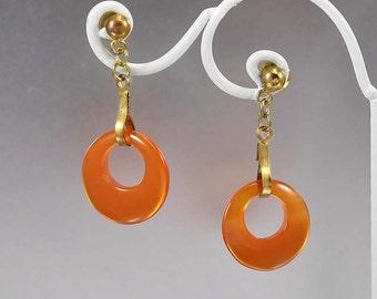 Carnelian Earrings, Chinese Export Carnelian Drop Earrings,  Gold Vermeil Vintage 1960s Dangle Earrings, Natural Carnelian Pierced Earrings