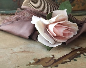 Vintage Brown Hat with Brown Netted Veil and Beautiful Pink Millinery Rose - Shabby Chic Decor