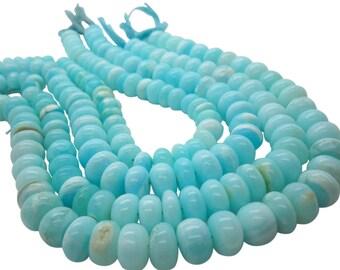 Blue Peruvian Opal Beads, Peruvian Opal Beads, Blue Opal Beads, Rondelles, SKU 5059