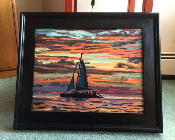 Sunset Painting with Sailboat, Boat Painting, Caribbean Sunset, Aruba Sunset,  Large Original red and blue Painting by Gwen Meyerson