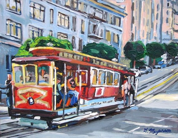 San Francisco Painting of Cable Car 8x10 Fine Art Print Cityscape Painting by Gwen Meyerson