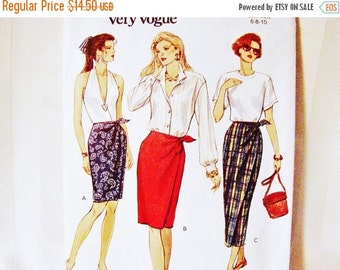 on SALE 90s Vogue Pattern Mock Wrap Skirt Pattern in three lengths Misses size 6 8 10 Easy to Sew