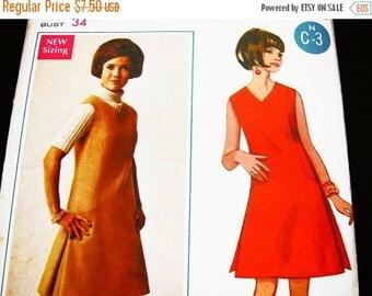 Sewing Pattern SALE 1970s Jumper Dress Pattern UNCUT Misses size 12 Vintage Sewing Pattern Womens V Neck A line Dress or Jumper Pattern