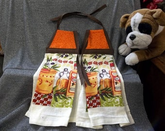 Hanging  Kitchen Terry Tie Towels, Orange Calico Print Top