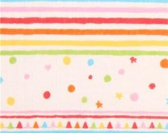 203017 cream color double gauze colorful stripes shapes Kokka fabric