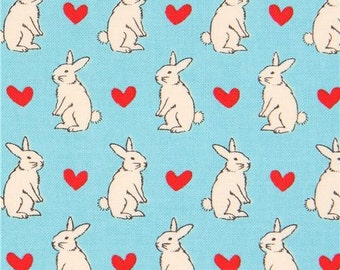 209140 turquoise Lecien fabric cream bunny rabbit red heart
