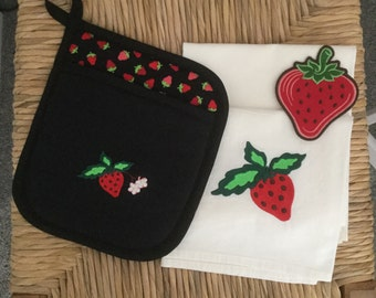 STRAWBERRY Kitchen Decor SET -- Pocket Hot Pad, Flour Sack Towel and Refrigerator Magnet