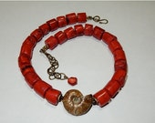 ON SALE Choker - Red Coral / Ammonite Fossil / Saki  Brass / Beach Resort Cruise / Sophisticated Casual / Choker Urban Tribal / Boho Chic (J