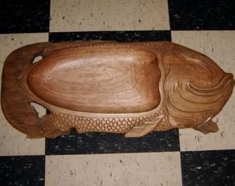 TRAY Fish Koi Folk Art Hand Carved Wood Wooden signed primitive
