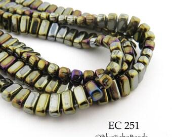 6mm CzechMates 2 Hole Iris Brown Brick Beads 3x6mm (EC 251) 50 pcs BlueEchoBeads