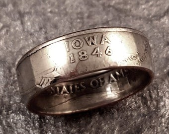 Iowa Coin Ring YOUR SIZE 5 to 10.5 State Quarter MR0705-TSTIA