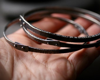 Sterling silver textured and pinned roughneck oxidized bangle bracelet