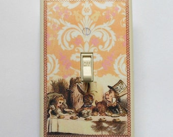 MATCHING SCREWS on Mad Tea Party switch plates- Alice in Wonderland wall decor Alice We're all mad here Alice bedroom Alice bathroom decor