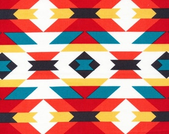 Organic Cotton Serape Fabric by Cloud 9 from the Enchanted collection 2 yards - Southwest - Red - Yellow - Quilting cotton - Quilt fabric