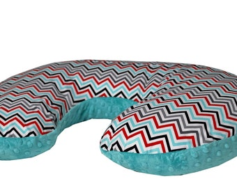Nursing Pillow Cover- Black, Teal, Grey, and Red Chevron Print and Minky Dot