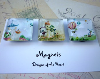 Square Glass Magnet set - Balloons and Bird Houses