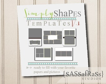 Simply Shapes PHOTOSHOP TEMPLATE V1: 5-Basic Card Templates, Layers, PSD, Commercial Use, Shapes Template