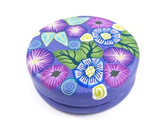 "Trinket Box Pill Box Treasure Box Engagement Ring Box Purple Round Handmade Polymer Clay Tin Interior Gift for Her Floral Cane Work 2"" Wide"