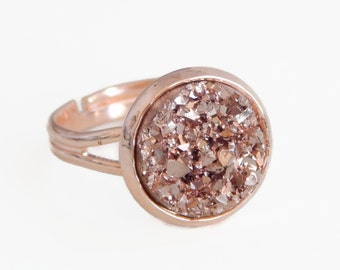 Rose gold druzy ring in plated rose gold