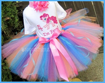 4yrs, Ready to Ship. My Little Pony with Number 4, Party Outfit, Tutu Set, Theme Party,Pony Party