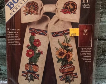 "Dimensions SOUTHWEST FLOWERS Bow Greetings 72461 Cross Stitch Kit 17"" Door Bow"