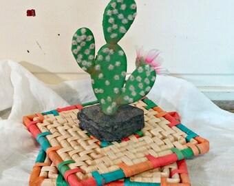 Vintage Rattan Hot Pads | Aztec Kitchen Trivets