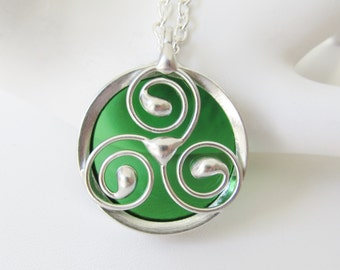 Stained Glass Celtic Pendant Necklace Celtic Triskele Green Stained Glass Jewelry