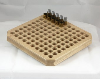 NEW! 100 round maple reloading block with standard depth holes for pistol calibers