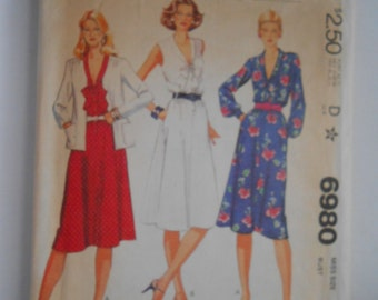 Vintage 80s Tie Collar Dress and Jacket Pattern McCalls 6980 Size 16 Bust 38