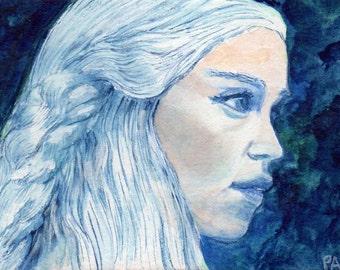 Original ACEO watercolour painting - Daenerys Targaryen