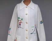 Vintage Novelty Golf Sweater Andreno Argenti Cardigan S/M