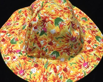 Reversible Yellow floral sunhat sizes newborn to adult size