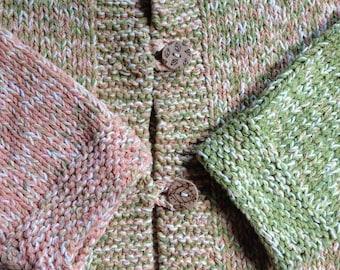 Sweater, hand knit fiber art women's cotton cardigan, medium large long sleeve, thick bulky warm winter, green peach, handmade size M L i961