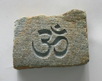 Om Engraved Stone Aum Engraved Om River Rock