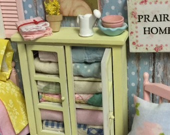 Yellow Miniature Dollhouse Quilt Hutch and Accessories -1:12 scale
