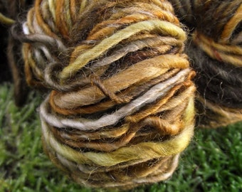 Handspun yarn, handpainted hand dyed BFL wool yarn worsted, brown yarn-Mr. Tumnus