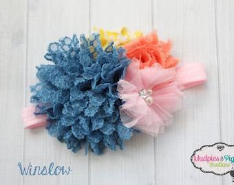 Baby headband { Winslow } blue lace, yellow, pink peach newborn vintage shabby flower girl first birthday cake smash photography prop