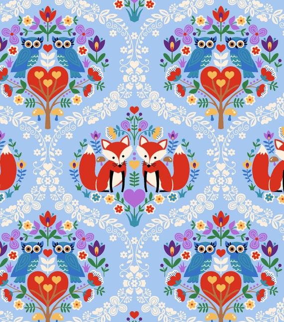 Scandanavian fox heart owl print cotton fabric 1 2 yard for Fox print fabric