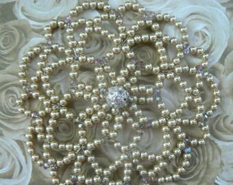 Gold Beaded Kippah - Unique Gold Beaded Kippah - Temple Head Covering - Sparkly Beaded Kippah.