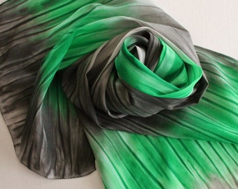 Hand Painted Silk Scarf - Handpainted Scarves Kelly Green Garden Black Gray Grey Silver Ash