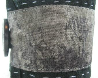 Fabric Cuff Bracelet, Eco print Fabric Cuff