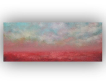 Pink Red and Blue Abstract Landscape- Sky Clouds and Field Original Oil Painting- 16 x 40 Palette Knife Art on Canvas