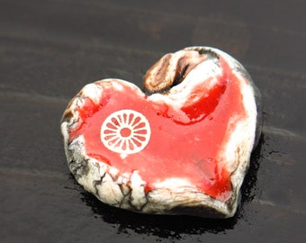 Red Ceramic and Glass Heart Shaped Pendant Cab