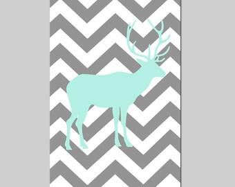 Chevron Deer Nursery Art Mint and Gray Nursery Decor Print Woodland Nursery Boy Bedroom Art - CHOOSE YOUR COLORS