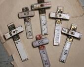 Wooden RULER CROSSES- for Jewelry- Artwork- Repurposed Art Supply- Vintage White & Black Ruler