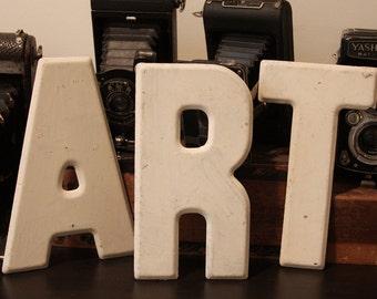 Vintage SIGN LETTERS- ART- Off White Painted Metal Letter- Art Studio Decor- Workshop Rustic Design